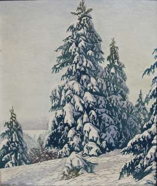 Tannen im Schnee. Estampe (bois) 41,5x35cm. Collection privée, Alsace.