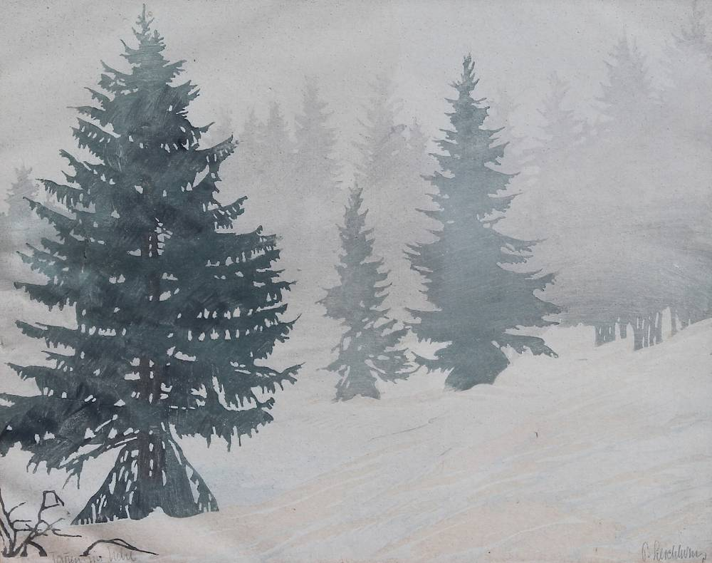 Tannen im Nebel. Estampe (bois) 28x36cm. Collection privée, Alsace.